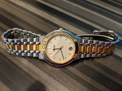 fbc3acb1fce Vintage GUCCI 8000M 14CG Gold Plated and Stainless Steel Men s Quartz Watch