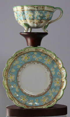 Antique Footed  Cup & Saucer Japan Hand Painted  Raised Floral Ornament Rare