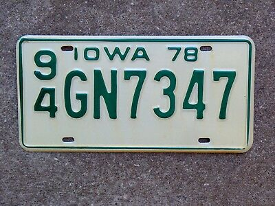 1978 Iowa License Plate 94 GN 7347 Mint Unissued NOS Webster County Fort Dodge