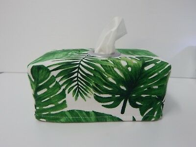 Tissue Box Cover Palm and Fern Leaves Circle Opening  Handmade