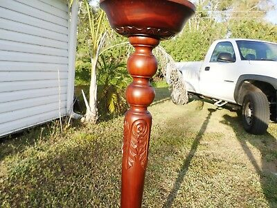 "Mahogany Carved Wood Plant Stand 48"" Tall"