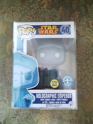 Funko Pop Figure - Star Wars - Holographic Emperor Palpatine Glow Rare+case
