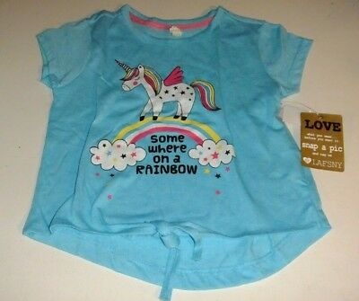 NWT Toddler Girls 4T Shirt UNICORN RAINBOW Short Sleeve Glitter Tie Front