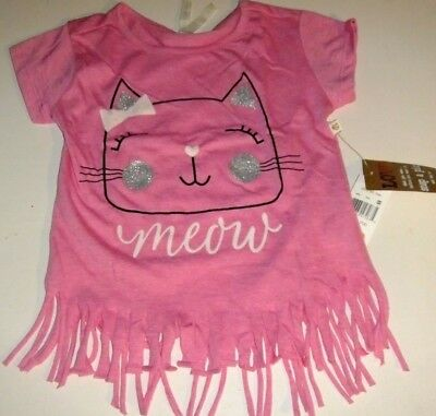 NWT Toddler Girls 3T Shirt Pink KITTY CAT Short Sleeve Glitter Fringe Hem