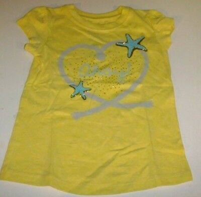 NWT Toddler Girls 4T Shirt YELLOW AHOY Sailing Glitter Short Sleeve Starfish