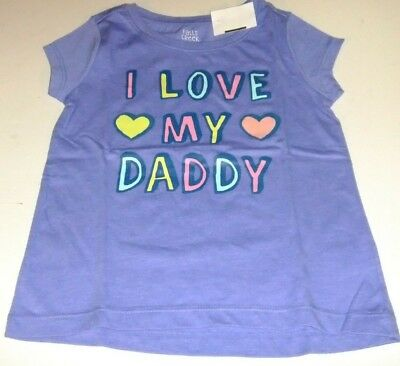 NWT Toddler Girls 3T Shirt Purple LOVE MY DADDY Glitter Short Sleeve HEARTS