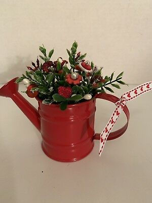 VTG Valentine Button Bouquet/Watering Can-Rustic Country Farmhouse Prim Decor