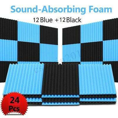 24 Pack Acoustic Wall Foam Panels Wedge Soundproofing Tiles Studio 12x12x1'' NEW