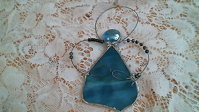 stained glass AQUA COUNTRY ANGEL  suncatcher / ornament  hand crafted OOAK