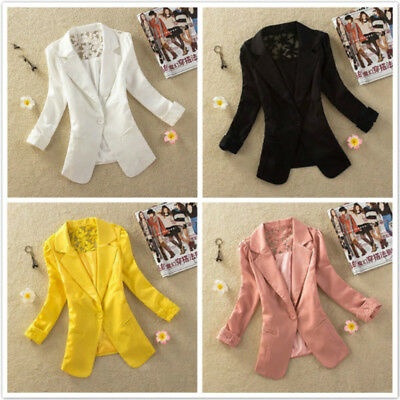 Formal Women Single Button Coat Silm Shawl Collar Back Lace Jacket Coat  G
