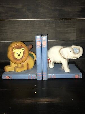 Bookends A Pair Of Adorable Wood Lion And Elephant Bookends