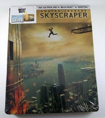New SKYSCRAPER 4K Steelbook (2018, 4K Ultra HD, Blu-ray, Digital HD)