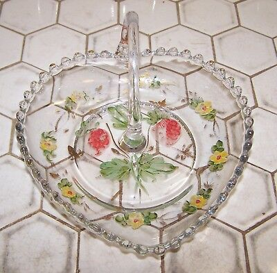 """Candlewick By Imperial Glass 6"""" Heart Shape Handled Bowl W/ Painted Design."""