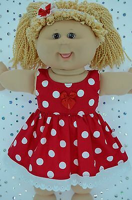 "Play n Wear Doll Clothes For 16"" Cabbage Patch RED POLKA DOT DRESS~HEADBAND"