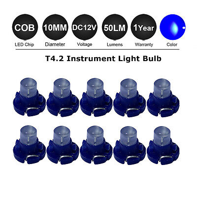 20X 10MM Blue T4.2 Neo Wedge LED Bulb Cluster Instrument Dash Climate Base Light
