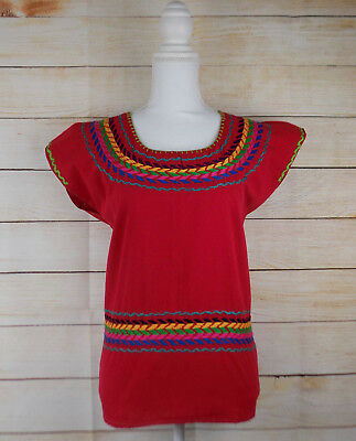 Handmade Womens Mexican Blouse Hand Embroidered Bohemian Peasant Blusa Bordada