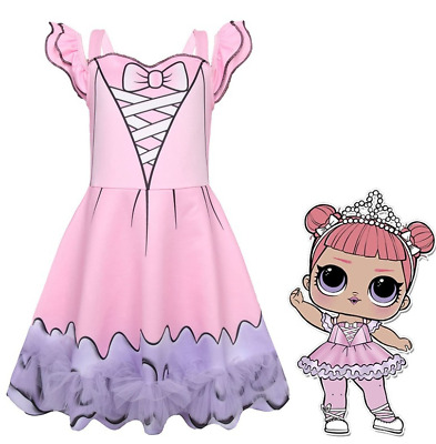 LOL Surprise! Dolls Printed Skirt Cosplay Costume Girl's Pink Dress Midi Outfit