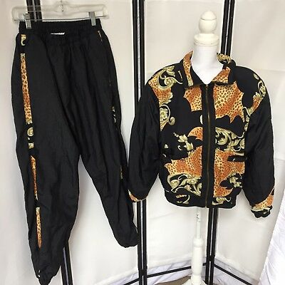 East West Vintage 80s Womens Large Tracksuit Black Full Zip Guady 2 Piece A9