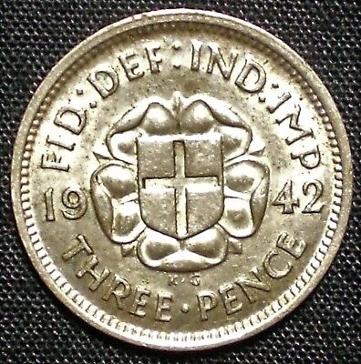 1942 Great Britain 3 Pence Silver Coin