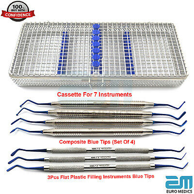 7 Dental Composite Blue Filling Tip Flat Plastic Surgical Tools Cassette NEW