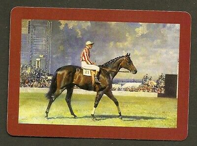 Single Swap Playing Card Racehorse & Jockey At The Track Horse Horses Art