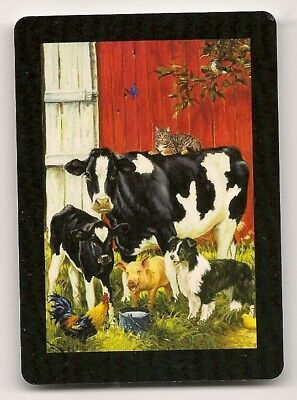 Single Swap Playing Card Border Collie Dog With Cow & Calf Pig Cat Farmyard Art