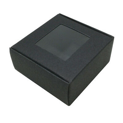 6.5x6.5x3cm Kraft Paper Box Wedding Party Gift Black Packaging Boxes With Window