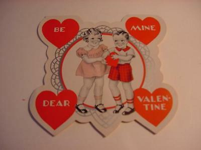 Vintage Unused 1920s-30s Valentine w/Cute Couple in Silver, Red, Pink