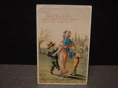 Vintage/Victorian TRADE CARD:LAUTZ BROS ACME SOAP-Children Dancing in a Circle