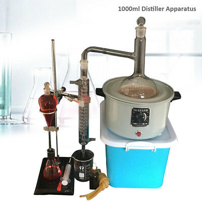 1000ml Lab Distillation Kits& Apparatus Essential Oil Pure Water Glassware