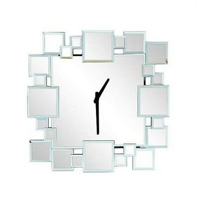 MND New Hotel Squares Plethora Mirrored Style Wall Clock 1 x AA Battery Operated