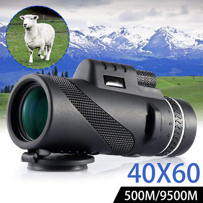 40x60 Dual Focus Monocular Telescope Fogproof Day & Night Vision HD Optics Zoom