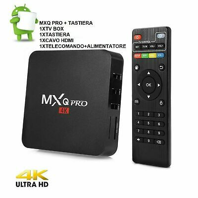 MXQ PRO SMART TV BOX 4K ANDROID QUAD CORE WIFI INTERNET TV piu TASTIERA