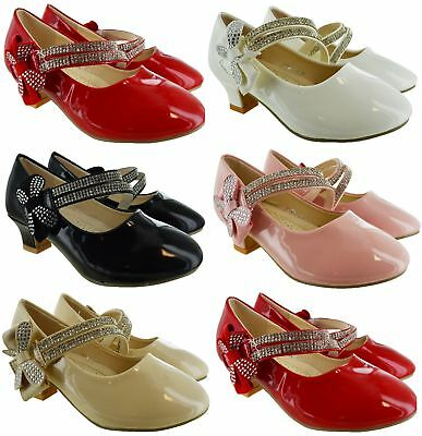 Kids Girls Childrens High Low Mid Heel Bow Wedding Bridesmaid Party Sandals Shoe