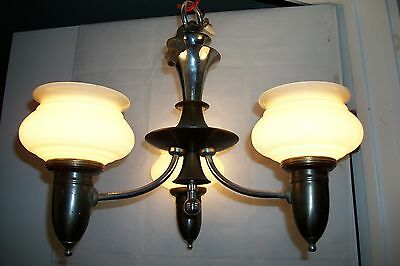Antique Vaseline Glass Cup Shades Chandelier Art Deco Streamline Light Fixture