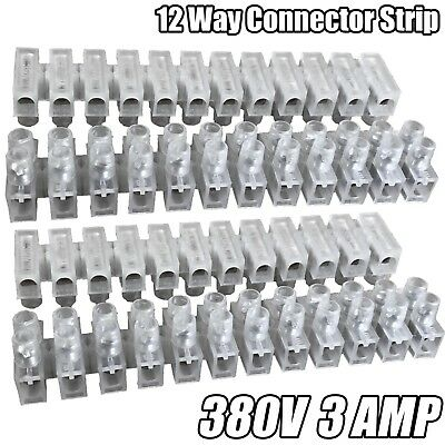 12 Way Connector Strip 3 Amp Choc Block Electrical Terminal Connection Flat Head