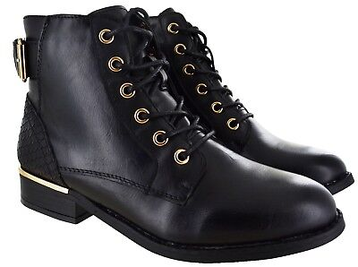 Ladies Womens Ankle Military Army Combat Lace Up Flat Biker Zip Boots Sizes 3-8
