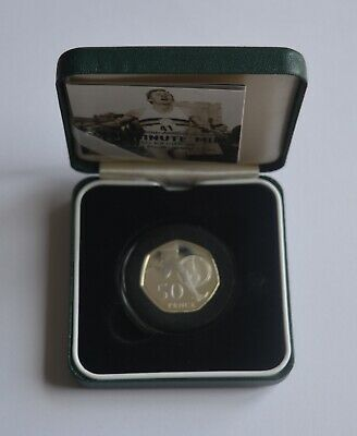 2004 UK Silver Proof Piedfort 50p Coin  Four-Minute Mile Bannister COA + BOX