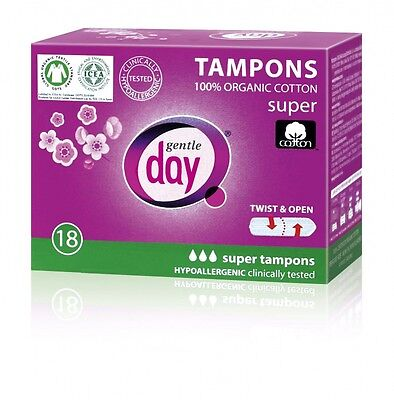 Gentle Day® TAMPONS 100% organic cotton 3 of 18 pcs. boxes .SUPER absorbency