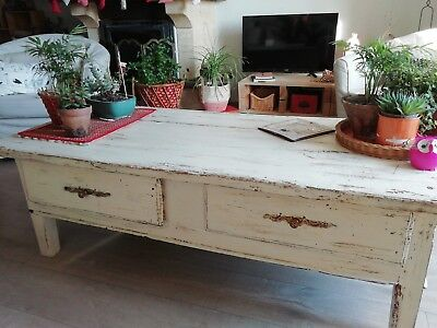 distressed aged grande table basse tv console patinée shabby chêne