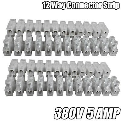 12 Way Connector Strip Choc Block Terminal 5 Amp Electrical Connection Flat Head