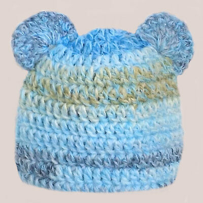 CROCHETED BABY BOY HAT teddy bear ears shower gift knit photoprop BLUE xmas  gift eb52249df65c