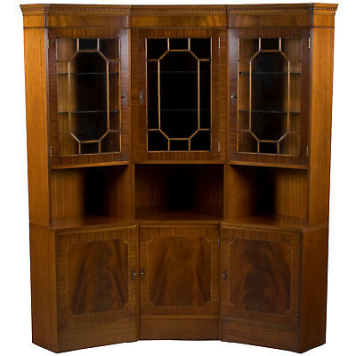 Marvelous Vintage Antique Style Mahogany Large Sectional Corner China Display Cabinet Unit Home Interior And Landscaping Ologienasavecom