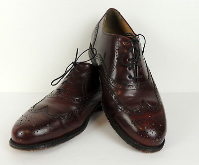 Vintage Thom McAn Mens 10.5 Wing Tip Shoes Leather Inside   Out Oxfords  Brown 95079e6c734