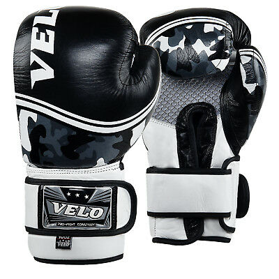 VELO Leather Boxing Gloves MMA Training Fight Punching Sparring kickboxing Camo