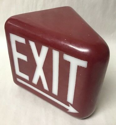 Vtg Glass Globe(only) Triangle 2 Sided Exit Light Sign Red w/White Letters Arrow
