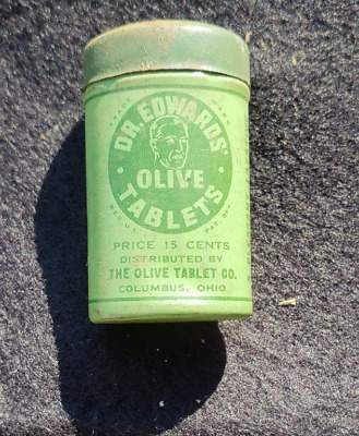 ORIGINAL VINTAGE DR. EDWARDS OLIVE TABLETS LAXATIVE PILLS OHIO TIN with CONENTS