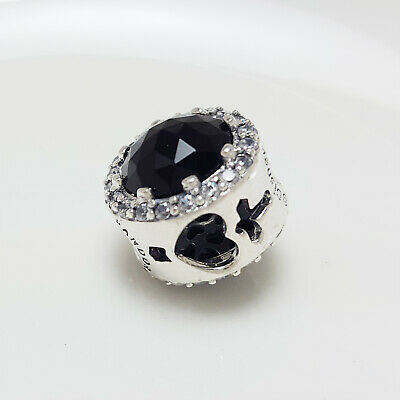 Authentic Pandora Charms 925 ALE Sterling Silver Black Crystal Cubic Zircon Bead
