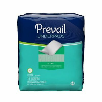Prevail Fluff Underpads Moderate Absorbency 23x36'' -15/Pack *NEW* 4 PACK
