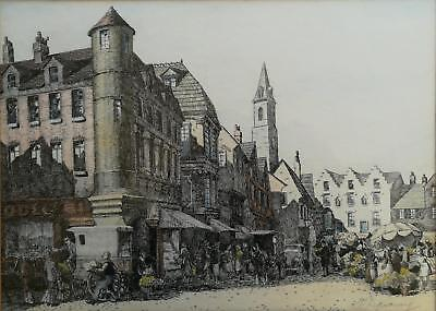 Fine Signed Early 20Th C. Original Pen Drawing, A Busy Market Scene With Figures